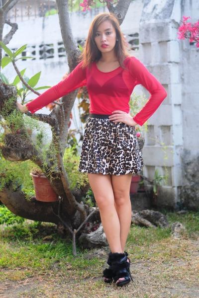 black heels Zara shoes - animal print Forever 21 skirt - red sheer Stylebreak to