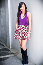 purple Forever 21 top - maroon Forever 21 skirt - black Forever 21 shoes
