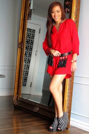 red Forever 21 romper - black Zara shoes