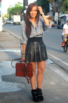 black heels Zara shoes - black leather Zara skirt - gray polo shirt Looking for