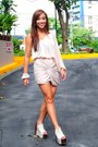 Heels-gold-dot-shoes-draped-sm-skirt-assymetrical-random-brand-top