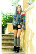 black heels Zara shoes - black sequined shorts - gray knee high Forever 21 socks