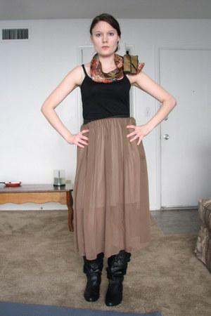 burnt orange Anne Klein scarf - black Target boots - dark khaki sheer Duo skirt