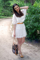 white H&M dress - dark brown Louis Vuitton bag - yellow BLANCO wedges - orange H