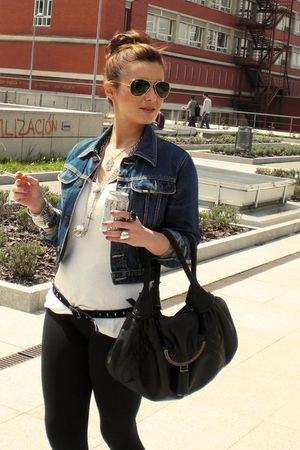 black Zara leggings - blue Lois jacket - silver Primark accessories - black Fend