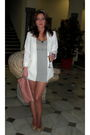 White-primark-blazer-pink-blanco-gray-h-m-dress-beige-hazel-shoes-silver
