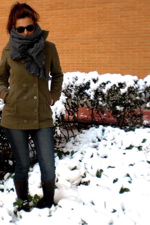 green Colcci coat - blue Zara jeans - brown hazel boots - gray scarf - black ray