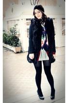 black fur Zara vest - black H&M shoes - mums closet vintage scarf