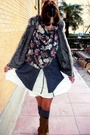 Gray-cardigan-white-mango-skirt-gray-grandmums-closet-socks-beige-bershka