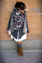 gray  cardigan - white Mango skirt - gray grandmums closet socks - beige Bershka
