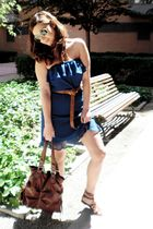 blue Zara dress - brown unknown shoes - brown unknown purse