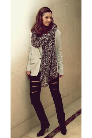 black Zara jeans - gray Zara blazer - black Zara boots - H&M scarf