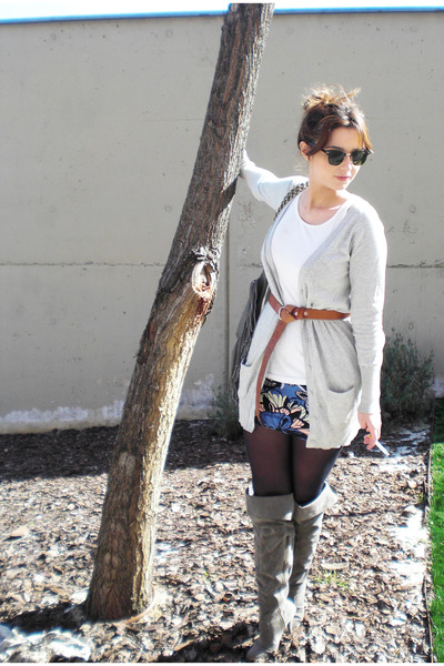 silver Zara cardigan - gray BLANCO boots - H&M skirt - Ray Ban accessories