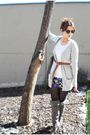 Gray-blanco-boots-h-m-skirt-silver-zara-cardigan-ray-ban-accessories
