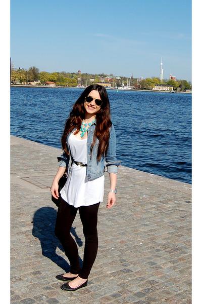 H&M jacket - H&M leggings - H&M necklace - H&M t-shirt - H&M belt - H&M flats