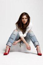 red Bershka shoes - blue Miss Sixty jeans - white calvin klein shirt