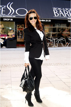 black Zara leggings - black Zara boots - black Zara blazer - white H&M blouse