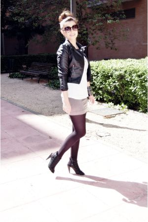 black H&M jacket - gray H&M skirt - white H&M shirt - black unknown shoes