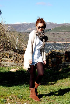 brown H&M scarf - brown Ugg boots - from my dad shorts - beige Zara cardigan