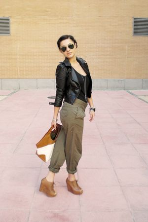 green Zara pants - brown Zara shoes - black H&M jacket - white H&M purse - Ray B