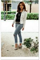 white Zara jacket - gray unknown shoes - D&G jeans - black Sfera belt