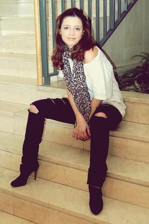 black Zara jeans - white Zara shirt - black Zara boots - H&M scarf
