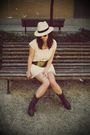 Beige-venca-dress-brown-hazel-belt-brown-hazel-boots-white-h-m-hat