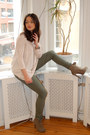 Dark-khaki-suede-belle-shoes-boots-army-green-h-m-leggings-light-pink-h-m-bl
