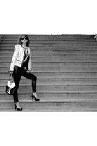 black Zara - Chanel - white Zara jacket