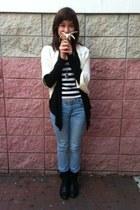 black Tillys boots - cream Forever 21 coat - white Forever 21 shirt - black Ross