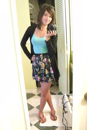 Forever 21 skirt - blue Forever 21 top - black Ross cardigan - black Heritage 19