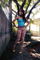 sky blue corset top - yellow Aldo shoes - salmon floral printed jeans