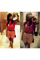 hot pink t-shirt - salmon scallop short Topshop shorts - mustard flats