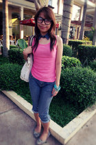 navy jeans - cream bag with studs bag - violet flats - bubble gum top