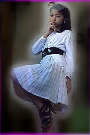 beige dress - white cardigan - black boots