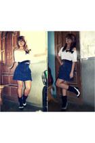 navy skirt - ivory blouse - black heels