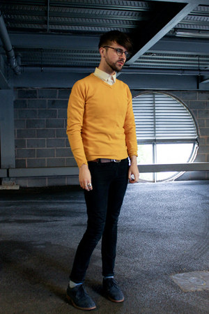 mustard jumper - navy suede shoes - black Cheap Monday jeans