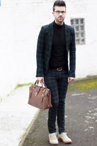 ivory asos shoes - black sweater - dark green Zara blazer - brown bag