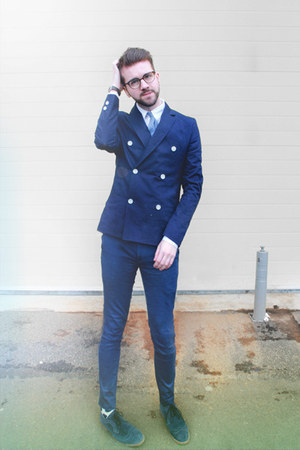 navy H&M blazer - navy Pete Werth shoes - Happy Socks socks - navy Topman pants