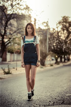 shirt vintage blouse - leather vintage boots - denim Dungaree shorts