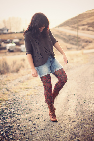 Urban Outfitters boots - Forever 21 sweater - Anthropologie tights - Gap shorts