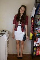 maroon cropped op shop jacket - white shift op shop dress
