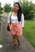 pink Mossman shorts - white random brand shirt - black Glassons shoes - silver G