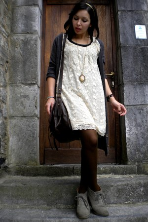ivory Pull and Bear dress - charcoal gray H&M jacket - dark brown veritas tights