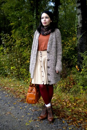 beige Zara cardigan - tawny H&M sweater - brick red veritas tights