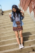 for elyse skirt - denim chambray Marshalls top - H&M top - Converse sneakers