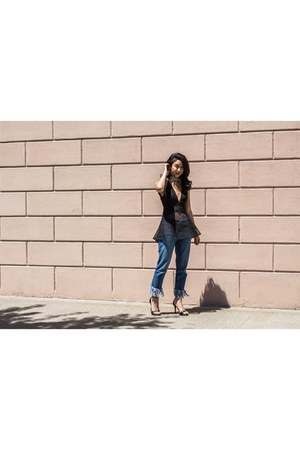 asos jeans - deep v peplum Finders Keepers top - strappy Zara heels