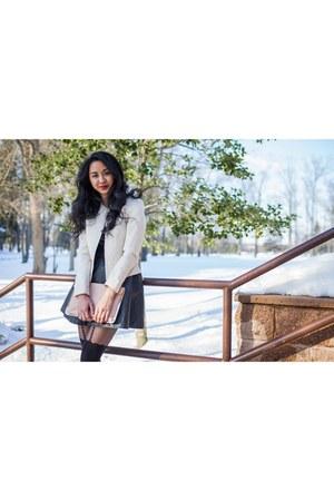 pleather H&M skirt - cream H&M blazer - heart suspender asos tights