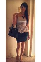 silver peplum Neminer Italy blouse - black Roberta Rossi bag