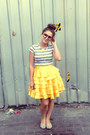 Silver-striped-tee-mink-pink-t-shirt-yellow-little-gracie-skirt-silver-flats